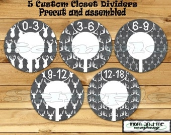 Custom closet dividers Clothes Dividers Size Dividers Rod Hangers Antler dividers infant 5- PRECUT Assembled Deer Baby Boy Chalk Dividers