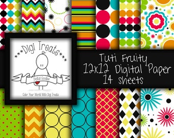 Digital Scrapbook Paper, Vibrant,  bright colored, patterned paper, Scrapbooking, Card Making, Digital paper, Instant Download