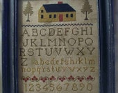 Cross Stitch Sampler Primitive Chart, folk-art schoolgirl sampler chart, House in the Pines