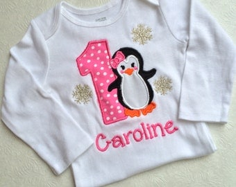 Baby Girl first birthday, 1st  birthday Penguin outfit girl,  Baby Girl personalized , Penguin Birthday baby girl outfit , Pink