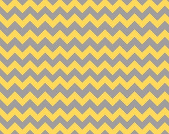 Half Yard Small Chevron - Tone on Tone in Yellow and Gray - Cotton Quilt Fabric - C400-11 - Riley Blake Designs (W2493)