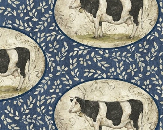 Fat Quarter Farm Chic - Cow Portraits in Blue - Cotton Quilt Fabric - by Kate McRostie for Windham Fabrics (W2211)