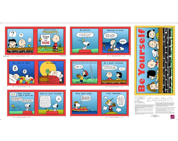 Peanuts - Tips From the Gang - Charlie Brown Comic Strip Book Panel - Cotton Quilt Fabric - Quilting Treasures - 23584-X (W2401)