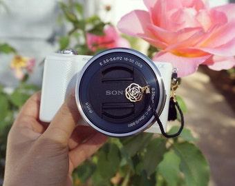 Camera Lens Cap Holder - Black Rose