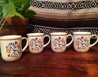 Set of 4 Floral and Bird Print Mugs