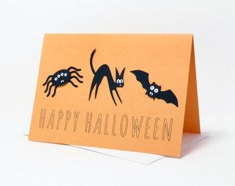 Cat, Bat, Spider Halloween Layered Paper Cut Greeting Card