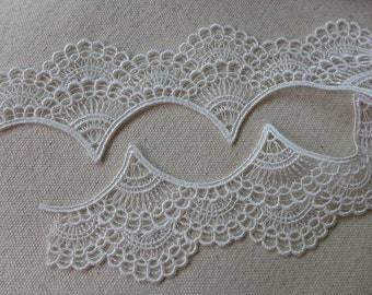 White Embroidery Venise Scalloped Edging Lace Trim 1.97 inches wide one yard