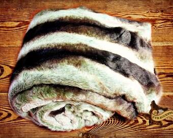 Exotic Gray Chinchilla Throw Blanket - Premium Faux Fur - Black Gray Brown Stripe - Super Soft - Minky Cuddle Fur Lining -