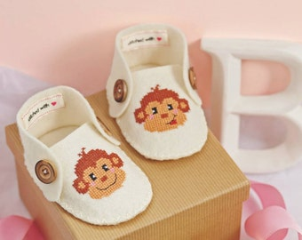 Monkey shoes baby booties for boy or girl - Modern cross stitch pattern PDF DIY craft project instant download