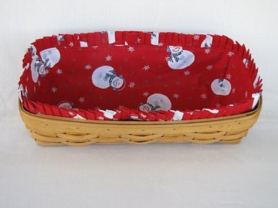 Handmade Longaberger Basket Liners : Custom snowmen basket liner for longaberger by