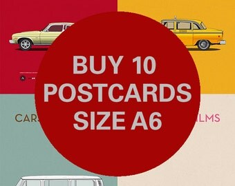 Any 10 Postcards A6 size - 6x4 inches - Carsandfilms