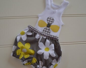 Singlet and bloomers - baby set, grey, yellow, white, baby shower, baby girls summer clothes