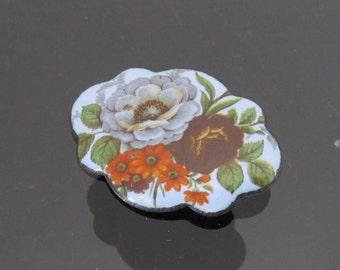 Vintage Jewelry Enamel Flower Pin Brooch