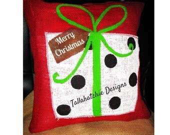 Christmas Pillow Cover* Hand Painted Christmas Pillow*Decorative Christmas Pillow*16 x 16 Christmas Pillow* Holiday Pillow