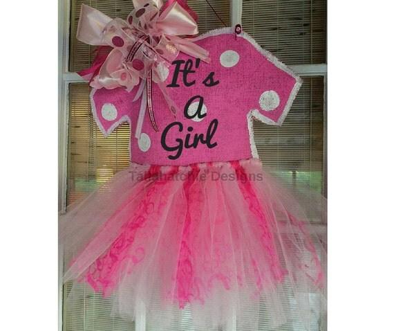 Baby girl hospital door hanger by