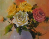 January Rose, 11 1/2 x 8 1/4 inches, Original oil painting on Arches oil paper