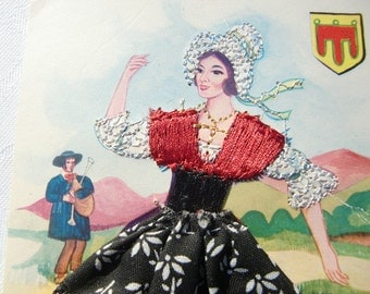 French vintage Embroidered Silk Postcard representing a dancing  lady in folk costume from Auvergne