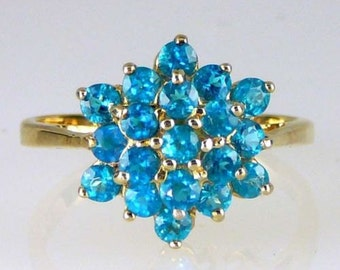 Genuine, Natural,  Madagascar Neon Apatite Ring Solid 14k yellow gold 1.33 CTW