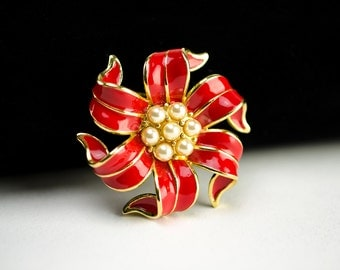 Vintage Pure Allure Red Enamel and Pearl Flower Brooch