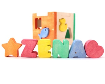Baby Shower Gift / Personalized Baby Gift / Name Puzzle / Wood Shapes / Personalized Wood Puzzle / Shape Sorter / Eco Friendly Baby Gift