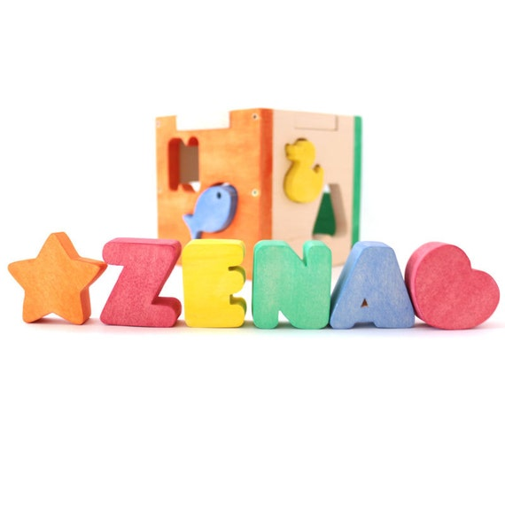 Baby Gift With Name : Baby shower gift personalized name puzzle wood