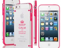 For Apple iPhone 4 4s 5 5s 5c 6 6s Plus Transparent Ultra Thin Clear Hard TPU Case Cover Keep Calm and Listen To Country