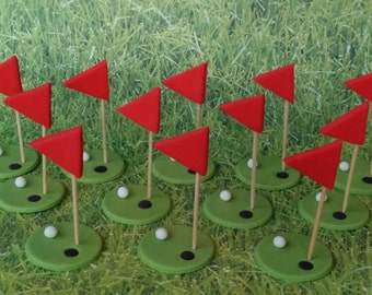 12 Golf cupcake Fondant toppers