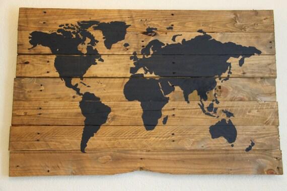 repurposed pallet wood travel world map. Black Bedroom Furniture Sets. Home Design Ideas