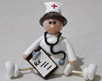 Nurse figurine /Nurse Decoration/Nurse  Gift/ Polymer Clay Nurse