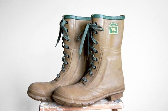 Vintage northerner rubber boots hunting outdoor army green mens