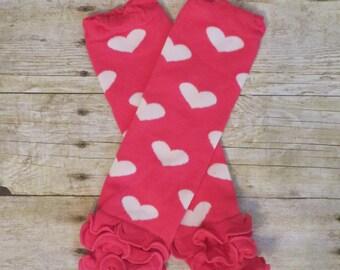 Hot Pink and White Heart Ruffle Leg Warmers
