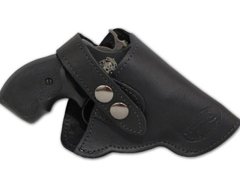 "New Black Leather Outside the Waistband (OWB) Gun Holster for Snub Nose 2"" 22 38 357 41 44 Revolvers (#11BL)"