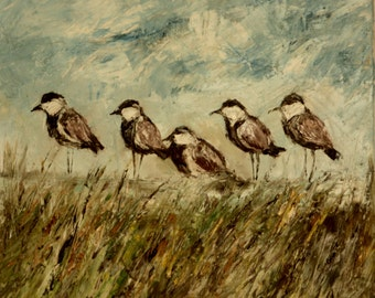 Original oil painting Five Birds green grass landscape summer impressionism 60x60cm (23.6 x 23.6 inch) palette knife canvas, special gift