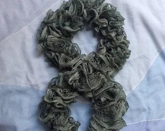 Frilly Grey Scarf, Grey Ruffle Scarf, Sparkly Scarf, Glittery Scarf, Fashion Scarf, Fun Grey Scarf, Grey Knitted Scarf, Knit Ruffle Scarf