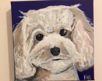 Pop art pet portrait - custom pet portrait - custom dog / cat painting - pop art canvas - 20 x 20 cm painting - valentines gift for him