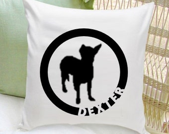 Personalized Pet Pillow - Dog Silhouette Decorative Pillow - Dog Home Decor (GC1235)