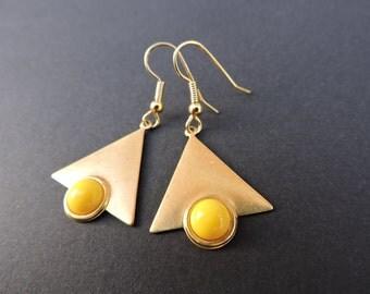 Vintage brass geometric triangle earrings in yellow