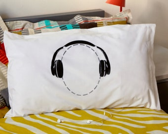 Headphones Pillowcase for Music Lovers Available with Personalisation from Twisted Twee's Celebrated Headcase Pillowslip Range