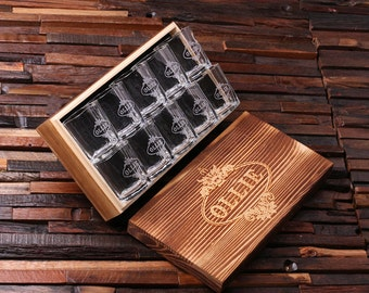 Personalized Shot Glasses (10) with Wood Box Groomsmen, Best Man, Man Cave Gift Barware (024968)