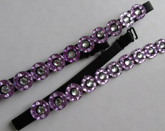 Exquisite Lilac  bra strap embellished with clear round glass jewels. Will jazz up outfit - will not give support. UK SELLER.
