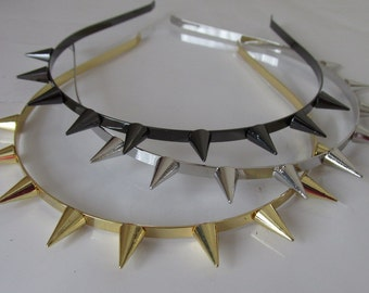FINAL REDUCTION 1960 look fancy dress party goth hippie Mod punk rock  spike stud gothic Alice hairband - gold silver gunmetal UK SeLLER