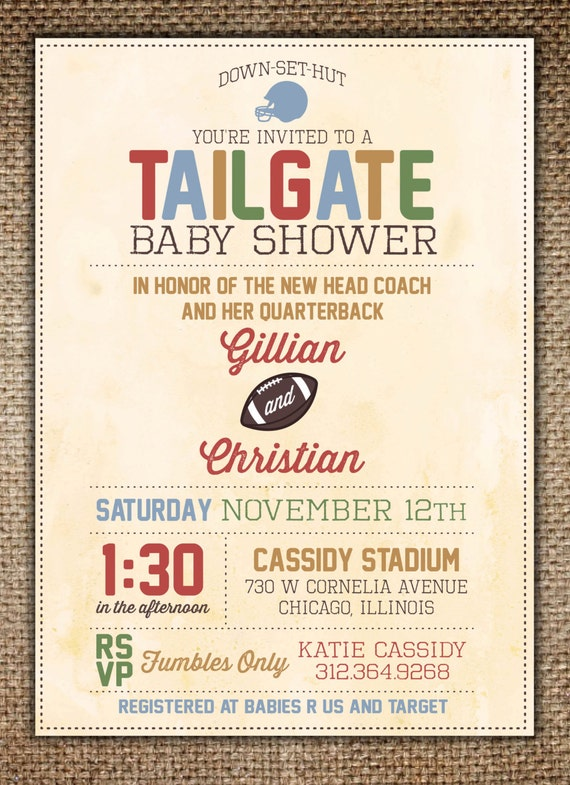baby shower invitation   tailgate football theme