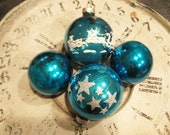 Vintage Shiny Brite Ornaments Lot Mercury Glass Teal Blue Vintage Holiday Decor Stenciled Christmas Ornaments