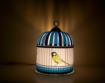 Blue Cage Lamp