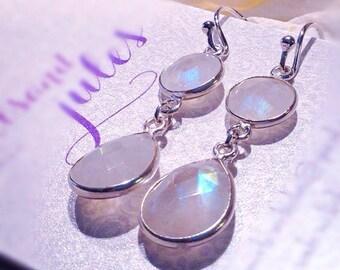 Rainbow Moonstone Earrings /Silver  Rainbow Moonstone Wedding Drop Earrings/ Sterling Silver Cubic Zirconia & Moonstone Bridal Earrings