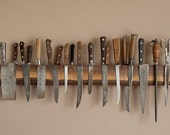 """18"""" Combination Slotted and Magnetic Live Edge Walnut Knife Rack"""