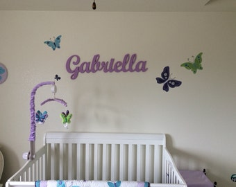 """10""""Painted Large Wooden Script Name, Word, or Phrase, Cursive Letters- perfect for your home, accent wall, child's room, or nursery - Gift"""