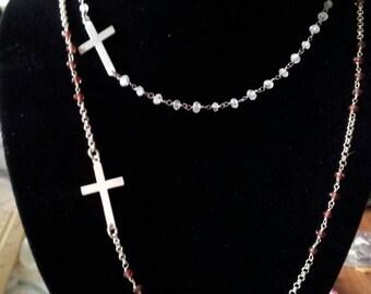 Moonstone sideways silver cross necklace