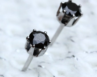 Genuine Black Sapphire and surgical steel stud earrings