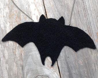 black bat felt necklace